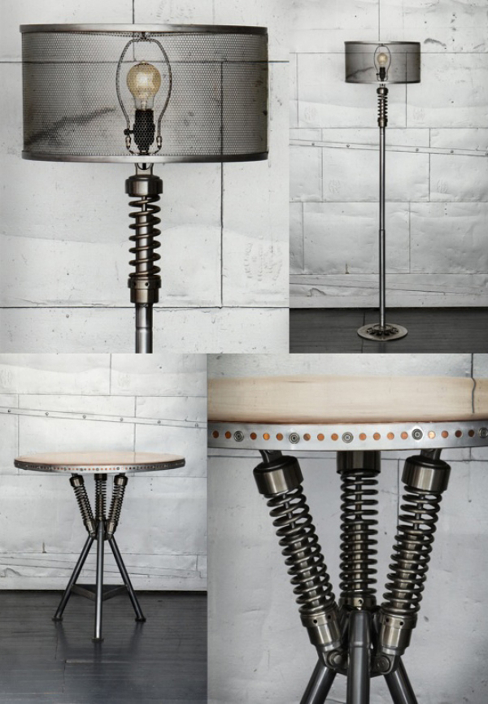 industrial chic wohnaccessoires stehlampe tischleuchte m belideen schrott aequivalere. Black Bedroom Furniture Sets. Home Design Ideas