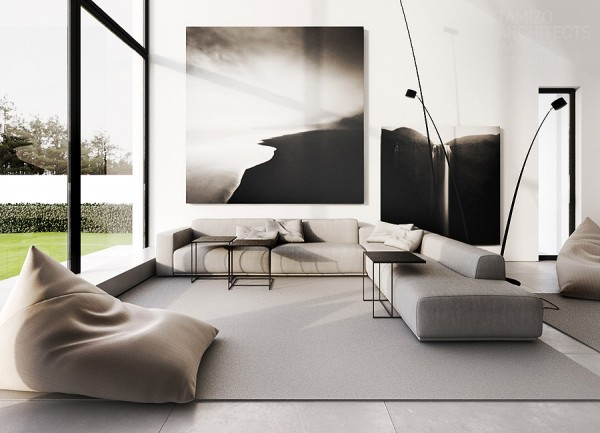 Graue Sofa-Innenarchitektur