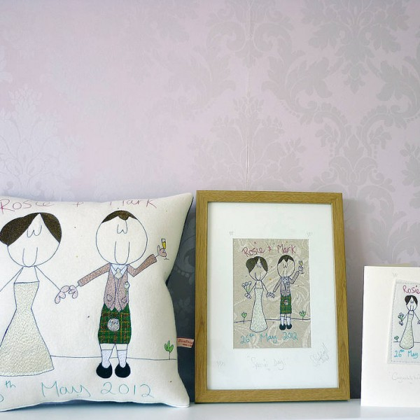 Personalised cushion, embroidery picture and card.