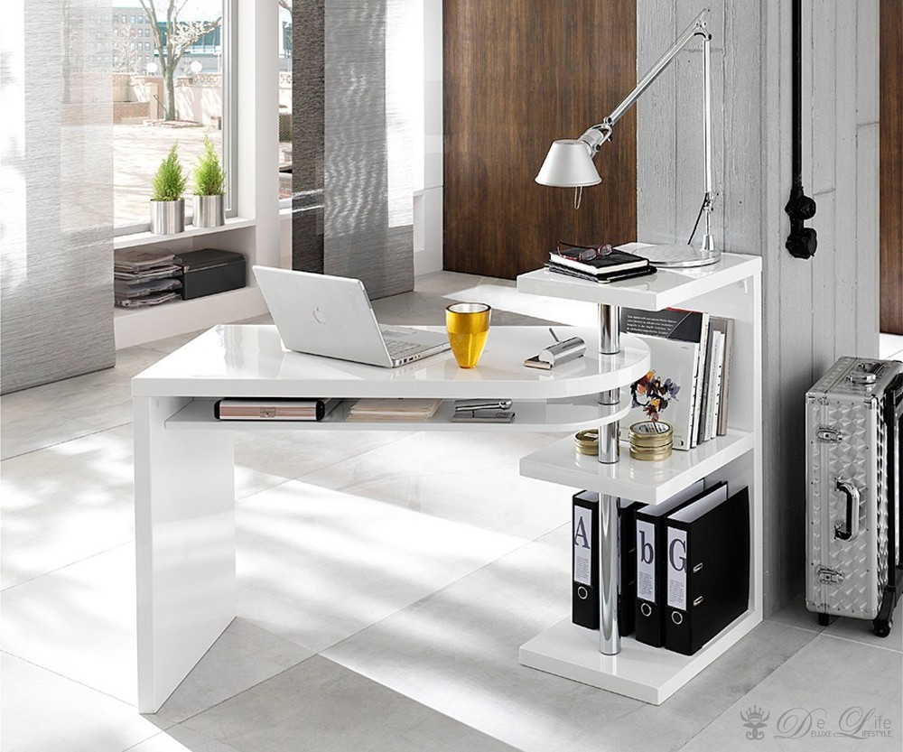 schreibtisch weiss hochglanz lackiert mit regal aequivalere. Black Bedroom Furniture Sets. Home Design Ideas