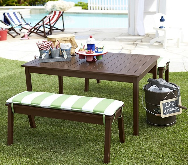 Modern Outdoor Patio Furniture in Simple Design with Wooden Benches and Table by Pottery Barn for Comfy Lounge