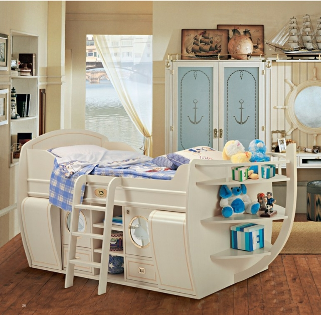 jungenzimmer kinderbett hochbett schiff form holz stauraum aequivalere. Black Bedroom Furniture Sets. Home Design Ideas