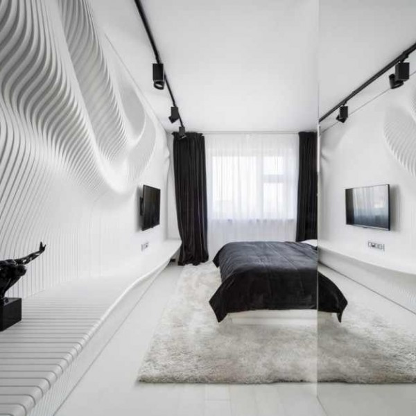 schlafzimmer design in black white von geometrix aequivalere. Black Bedroom Furniture Sets. Home Design Ideas