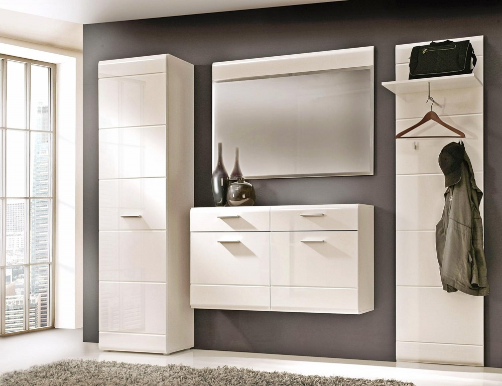 garderoben set weiss hochglanz dielenm bel aequivalere. Black Bedroom Furniture Sets. Home Design Ideas