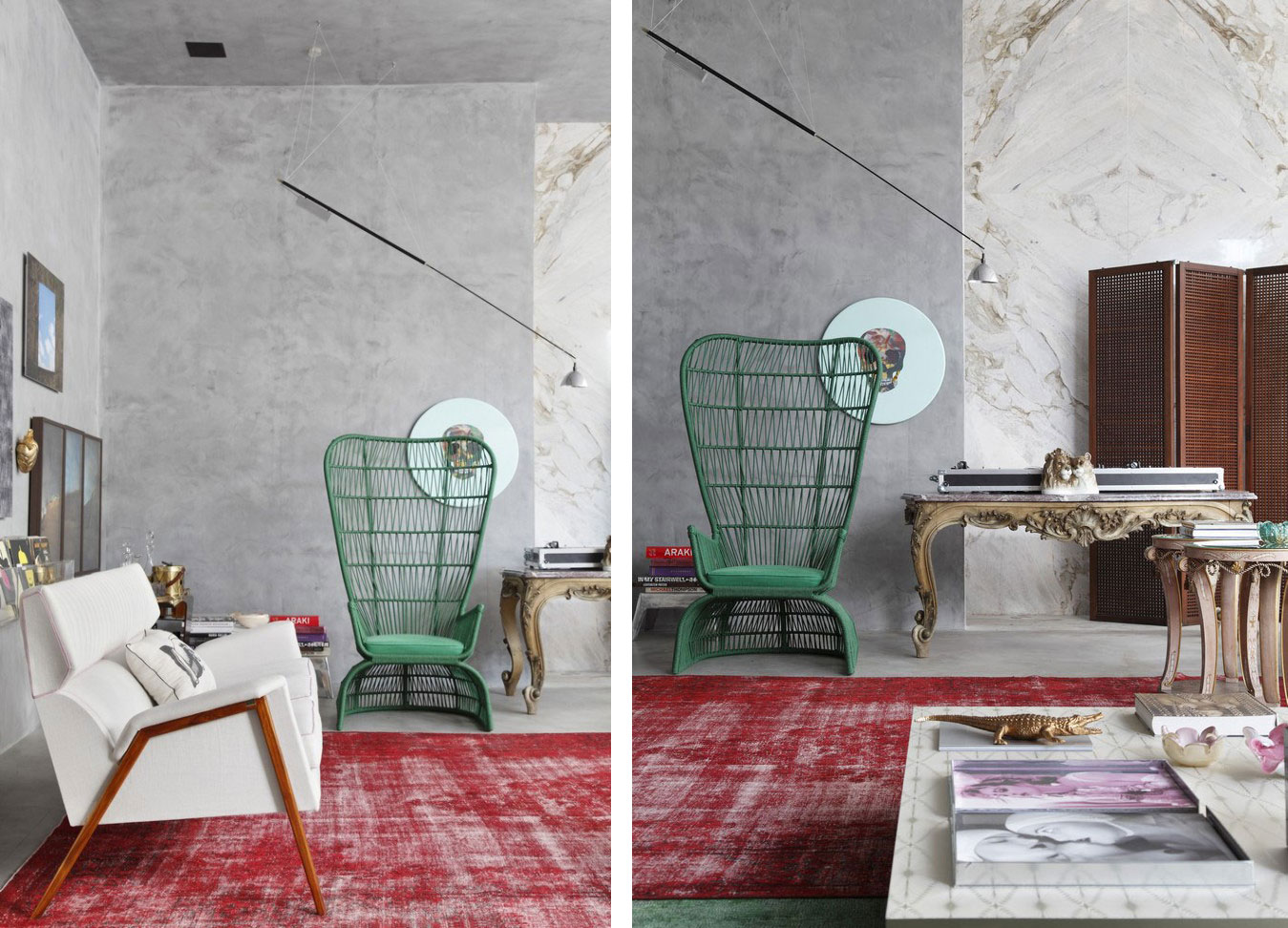 stylish-decorative-and-vintage-living-room-furniture-interior-design-ideas-with-red-carpet-tile-white-sofa-and-green-chair-with-high-back-ideas